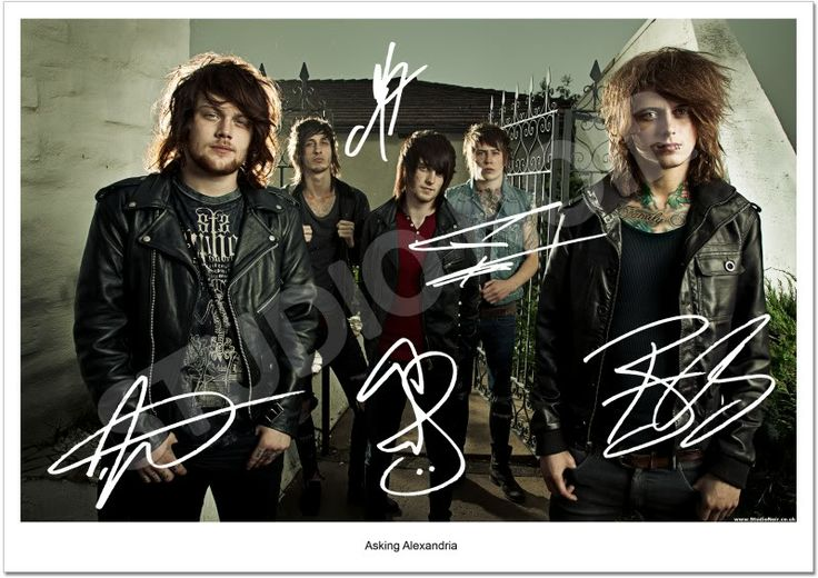 asking alexandria posters asking alexandria full band group signed photo autograph print. Black Bedroom Furniture Sets. Home Design Ideas