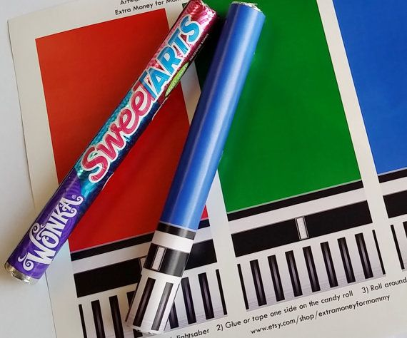 What is a Star Wars themed party or wedding without a lightsaber? This Star Wars themed lightsaber artwork is designed to fit a SweeTARTS,