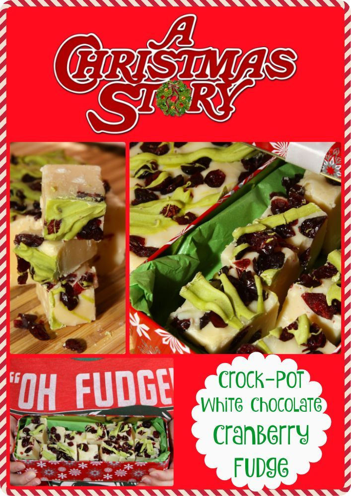 """Festive Crock-Pot White Chocolate Cranberry Fudge Inspired by """"A Christmas Story"""". #25ChristmasMovies"""