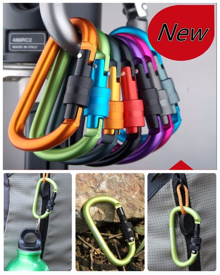 Climbing Accessories  free shipping carabiner climbing 8cm locking type d quickdraw carabiner buckle buckle hanging aluminum nut backpack buckle