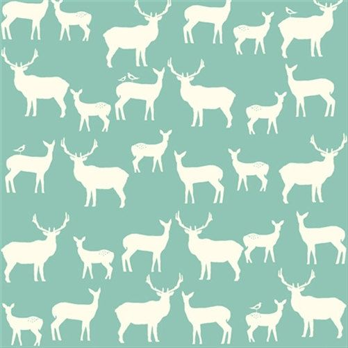 KNIT Organic Cotton Fabric Birch  Elk Family by CedarHouseFabrics