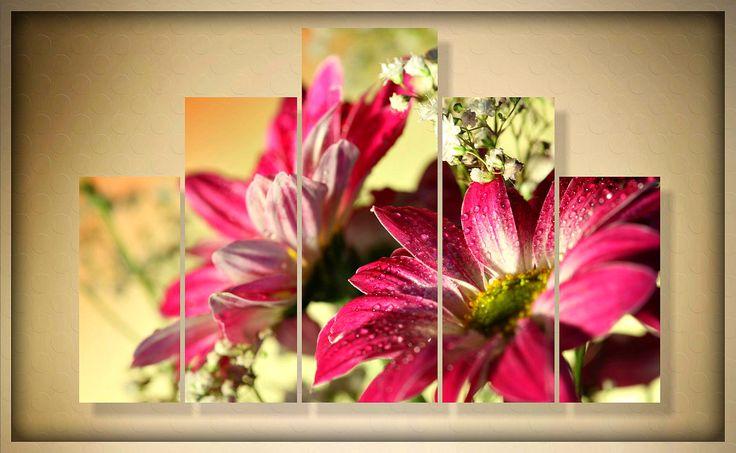 """Модульная картина """"Утренняя роса на нежных цветах"""" - ручная работа"""