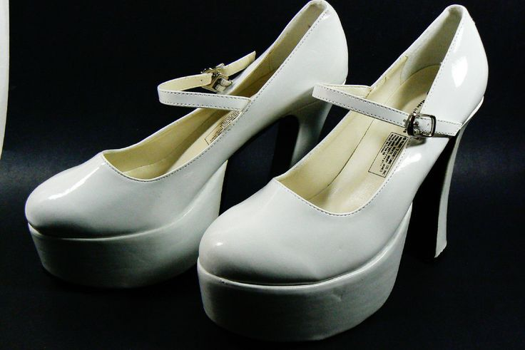 Rybie's White Platform Sexy Mary Jane Shoes Sz L s M Costume Party New | eBay