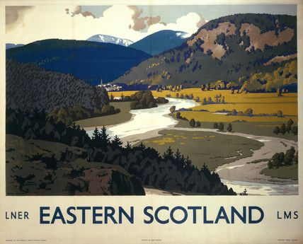 Poster produced for London, Midland & Scottish Railway (LMS) to promote rail travel to the Southern Highlands of Scotland. Description from travelpostersonline.com. I searched for this on bing.com/images