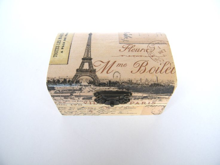Wooden jewelry box, vintage Paris post card, Paris memory, small wooden box, decoupage, hand made decorated, gift for her, gift for traveler by KristanArt on Etsy