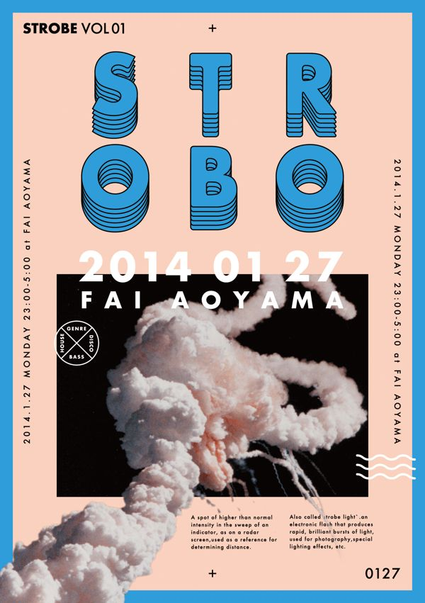 "FLYER DESIGN FOR THE CLUB EVENT ""STROBO"" IN TOKYO by Yuta Kawaguchi, via Behance"