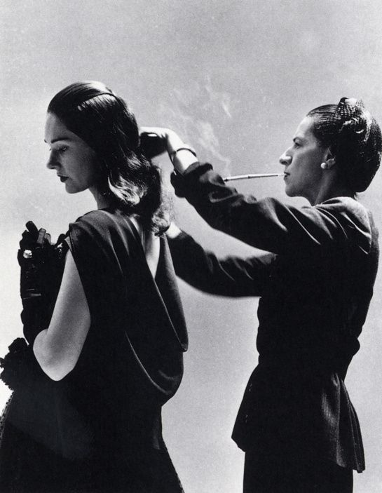 Diana Vreeland (fashion editor at Harper's Bazaar) styles model Marilyn Ambrose, photo by Richard Avedon, Harper's Bazaar, 1946