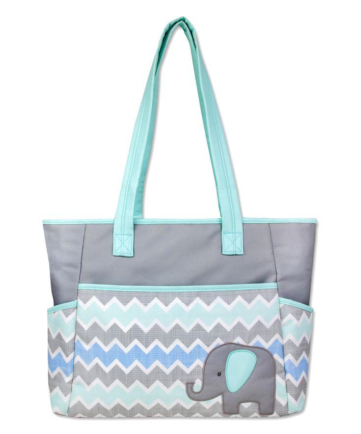 Blue Elephant & Chevron Diaper Bag Set