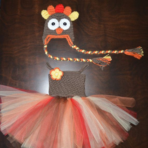 Crochet Turkey Tulle Tutu Dress with Matching Hat Baby Costume Handmade Photo Prop via Etsy $80