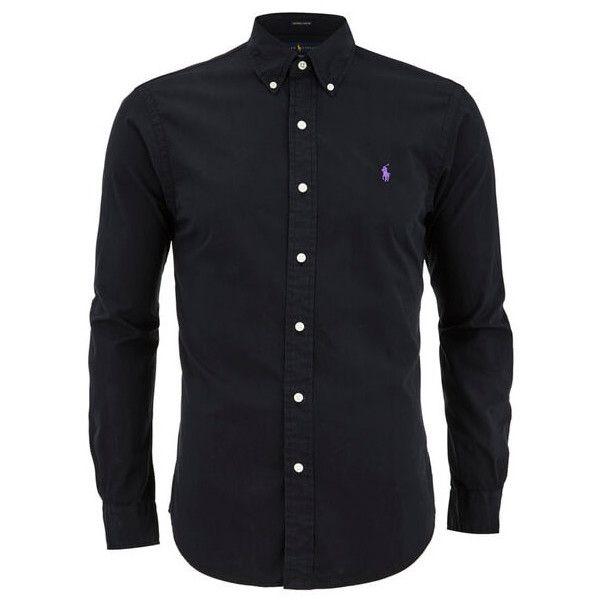 4b44836ad Polo Ralph Lauren Men's Plain Slim Fit Long Sleeve Shirt - Polo Black  ($160) ❤ liked on Polyvore featuring men's fashion, men's clothing, m…