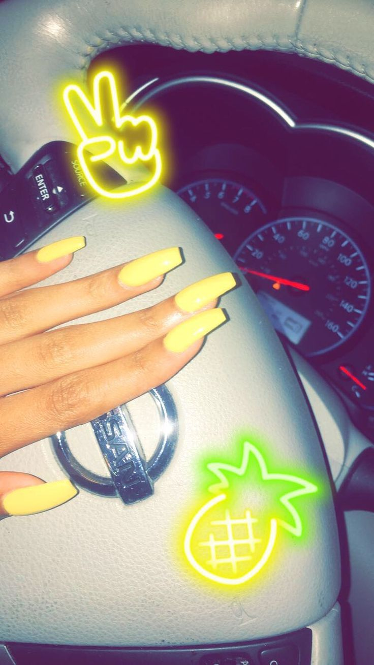 yellow acrylic coffin summer spring bright pineapple nails