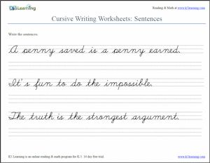 Cursive Sentences Worksheet screenshot from K5 Learning | http://www.k5learning.com/cursive-writing-worksheets/cursive-sentences