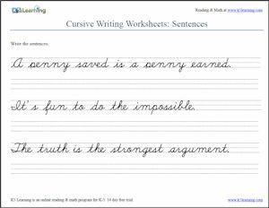 Cursive Sentences Worksheet screenshot from K5 Learning   http://www.k5learning.com/cursive-writing-worksheets/cursive-sentences