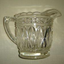 Depression Glass Milk Jug Creamer Crown Crystal Star Base
