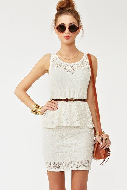 Love the look: Summer Dresses, Style, Outfit, White Lace Dresses, Lace Peplum, Nasty Gal, White Dresses, Nastygal, Peplum Dresses