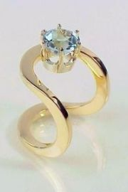 14kt yellow gold design with Blue Topaz - Trisko Jewelry sculptures