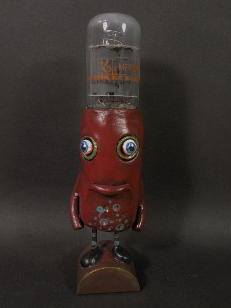 """Vacuum Tube Art Figurine.  """"Luni"""" Vacuum Tube Folk Art, One of a Kind, Paper Clay Decoration. by HiddenFromTheLight on Etsy https://www.etsy.com/listing/495928095/vacuum-tube-art-figurine-luni-vacuum"""