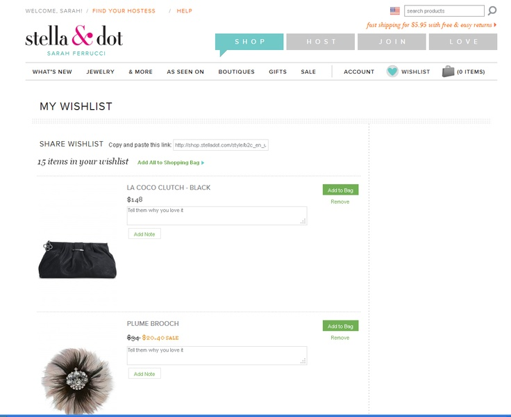 Stella & Dot Wishlist! Have your girlfriends make a wish list and email you it!