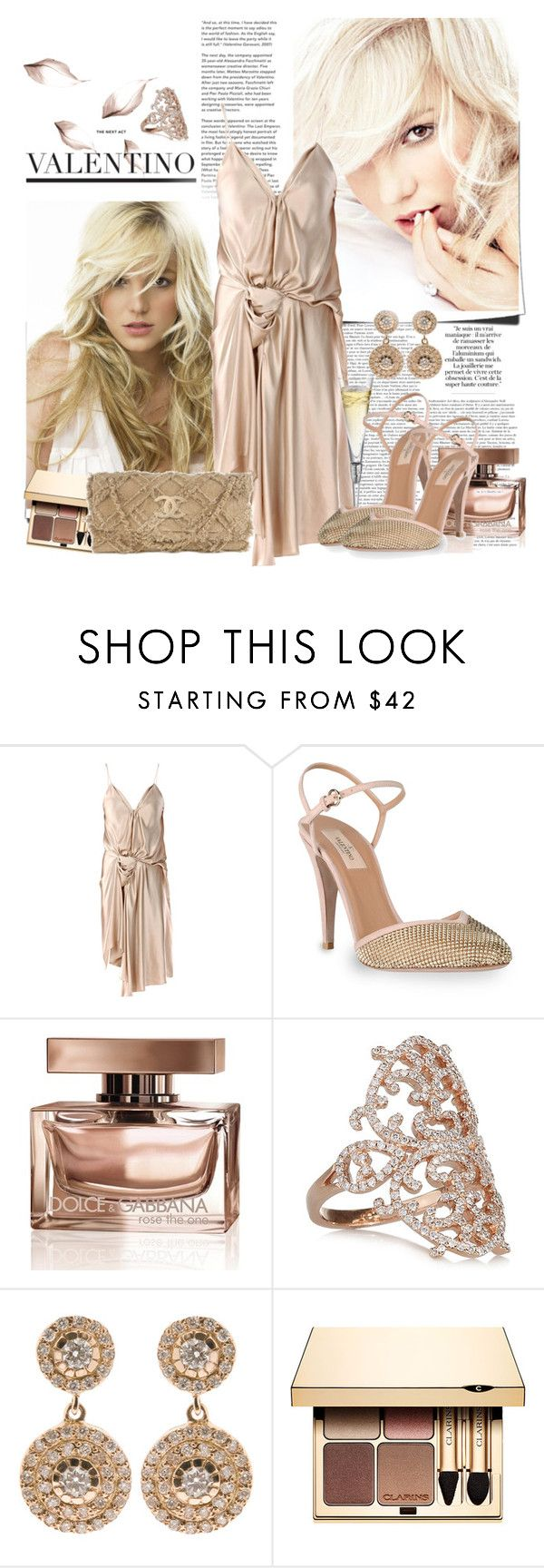 """Britney Spears"" by bklana ❤ liked on Polyvore featuring Britney Spears, Lanvin, Valentino, Dolce&Gabbana, Diane Kordas, Ileana Makri, Clarins, Chanel, nude and lanvin dress"