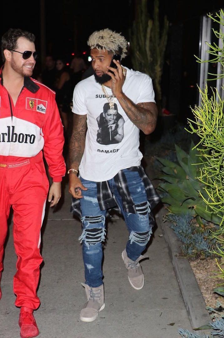 Odell Beckham Jr Wears Enfants Riches Deprimes T-Shirt, Amiri Jeans, And Adidas Yeezy Sneakers   UpscaleHype