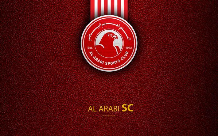 Download wallpapers Al Arabi SC, 4k, Qatar football club, red leather texture, Al Arabi logo, Qatar Stars League, Al Sad, Doha, Qatar, Premier League, Q-League