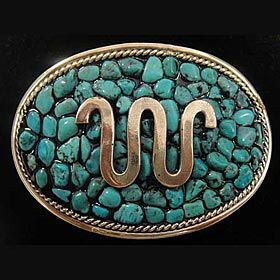 Genuine turquoise and German silver buckle with King Ranch's Running W brand handcrafted by Texas jewelry