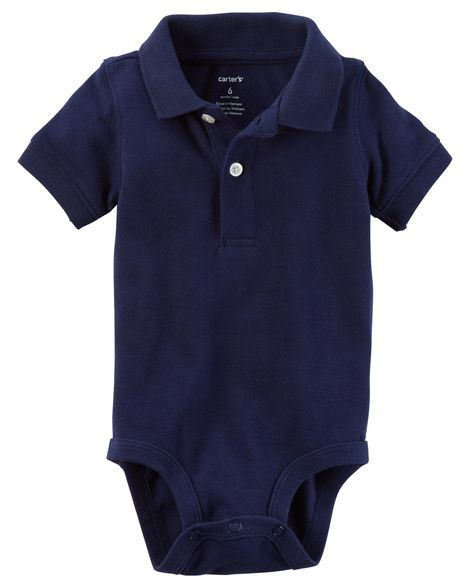 28440452 Piqué Polo Bodysuit | Carter's | Bodysuit, Carters baby boys, Baby ...