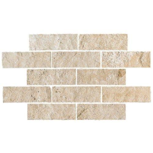 "Daltile T7412SPLITT Travertine Collection - 12"" x 4"" Brick Joint Mosaic Wall Til - mediterranean ivory"