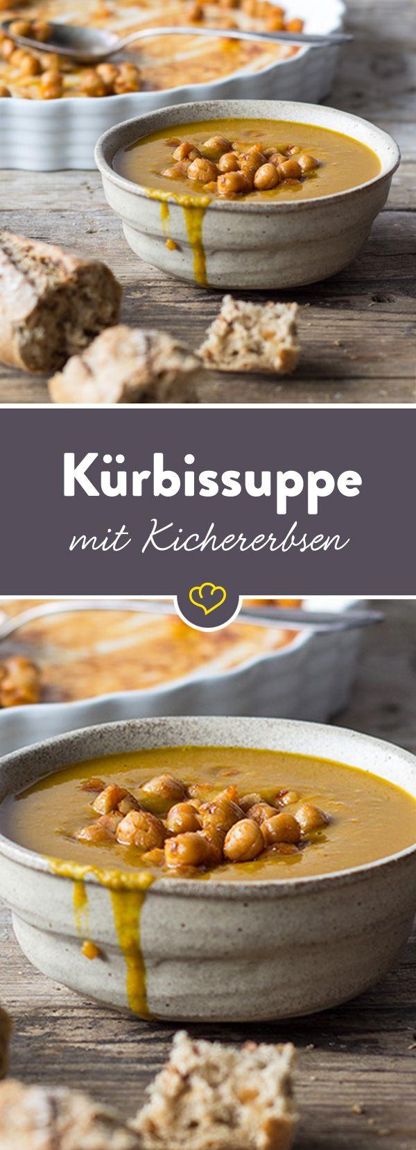 Das Rezept für leckere Kürbissuppe mit gebackenen Kichererbsen und viele weitere Rezeptideen für den Herbst finden Sie im Springlane Magazin.