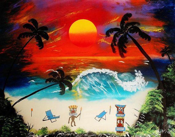 Tiki Art Paradise  22 x  28 by Alienz2 on Etsy