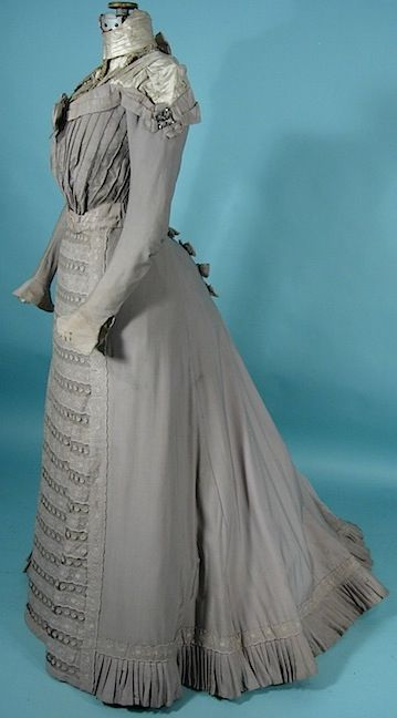 1900 Victorian Gown / Gibson Era Gray High-Necked Cotton and Beaded 2-piece Afternoon Gown
