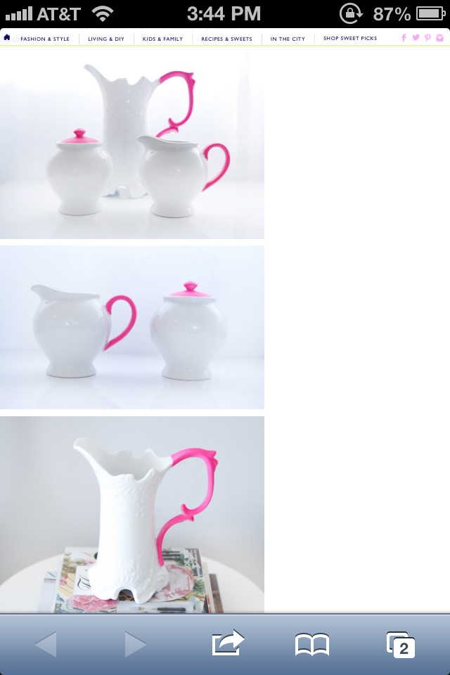 she bought a cheap ceramic water pitcher at ross and spray painted the - Color Pitchers