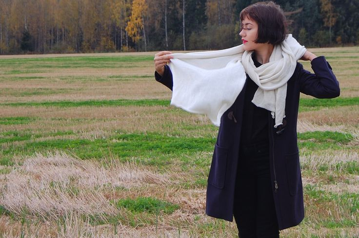 Oversized scarf - alpaca and silk. Dufflecoat from Henri Lloyd.