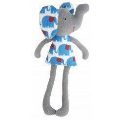 Elephant Toy Rattle - Blue Grey 31cm