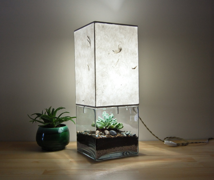 Large Square Column TerrariumDisplay Table Lamp, with Handmade Paper Lampsha -> Terrarium Table Basse