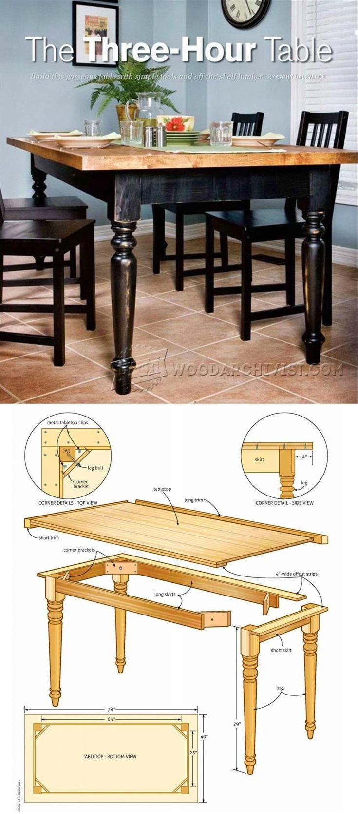 Easy Table Plans - Furniture Plans and Projects | WoodArchivist.com