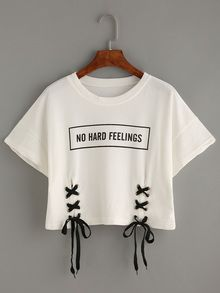 White Letter Print Lace-Up Crop T-shirt