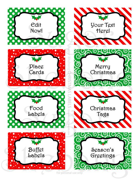Christmas Labels For Table Buffets Gift Tags And More Diy