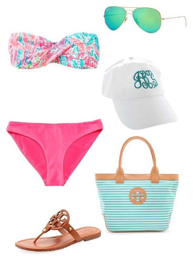 """Lalalalove this bikini"" by madisonyp ❤ liked on Polyvore featuring Lilly Pulitzer, Ray-Ban and Tory Burch"