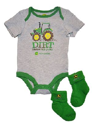 John Deere Baby Outfit Socks. Hubby would love this.