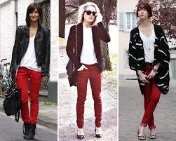 como combinar pantalon negro - rojo