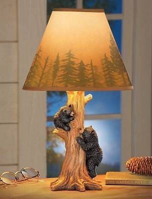 Lodge Cabin Black Bear Carved Tree Trunk Table Lamp Forest