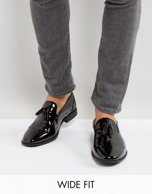 ASOS Wide Fit Tassel Loafers In Black Patent