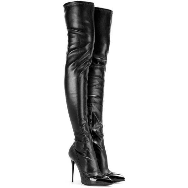 Alexander McQueen Leather and Patent Leather Over-the-Knee Boots featuring polyvore, fashion, shoes, boots, heels, sapatos, black, black patent boots, thigh boots, over knee boots, heel boots and thigh high boots