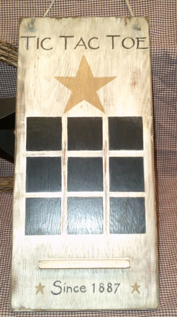 Primitive wooden Tic Tac Toe game board by barnstarsigns on Etsy