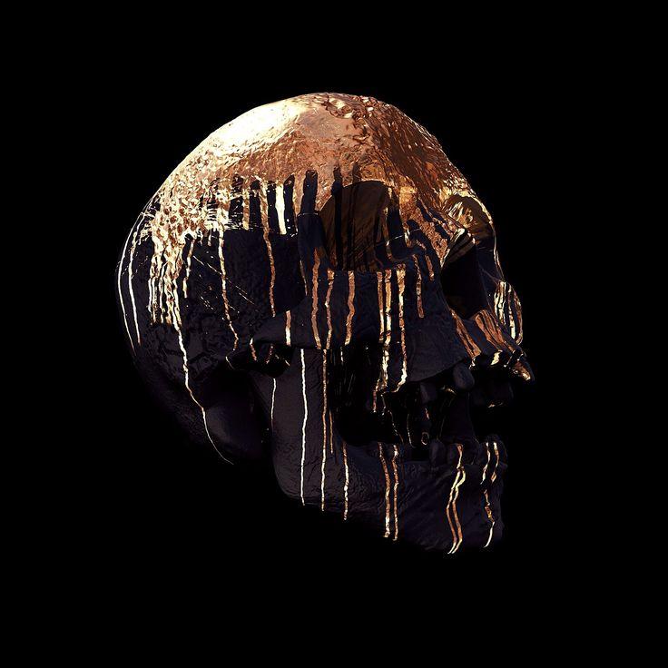 Gold Decay / Skull Art by Billelis / skull-art art skull death gold beauty drip graffiti billelis golden skeleton sculpture decay metallic gold-ink