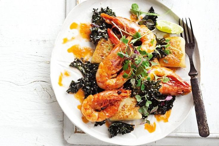 Miso-caramelised prawns and crispy roasted kale put a delicious Asian twist on easy homemade gnocchi.