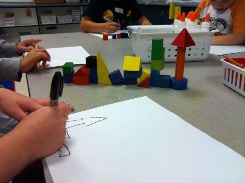 Kids build with blocks then observe, draw.