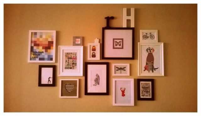 Wall gallery, still in progress.. All graphics and drawings are DiYs
