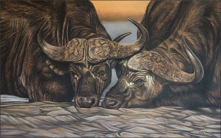 Bernie van der Vyver painting - soft pastel of buffaloes drinking.